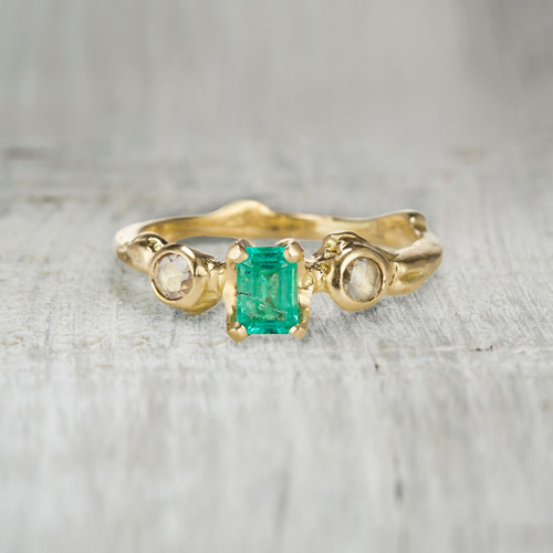 unique emerald engagement ring