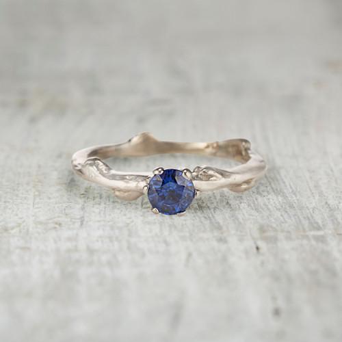 Blue sapphire engagement ring handmade