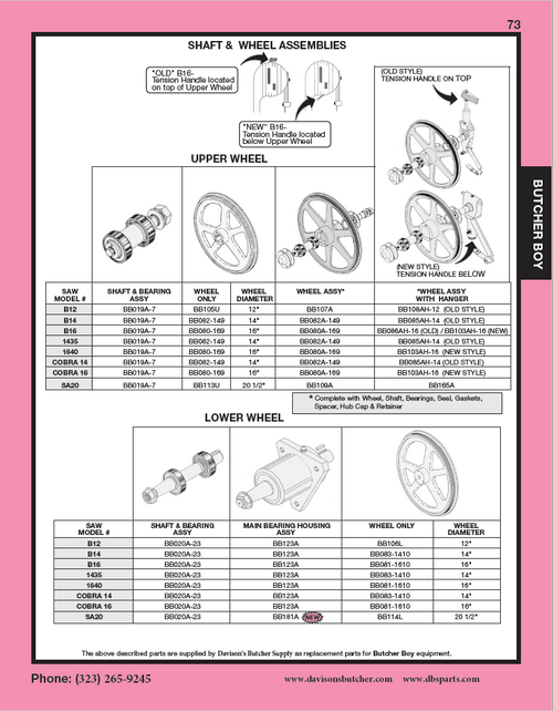 Butcher Boy B12,B14,B16,SA16 & SA20 - Meat Bandsaw Parts List