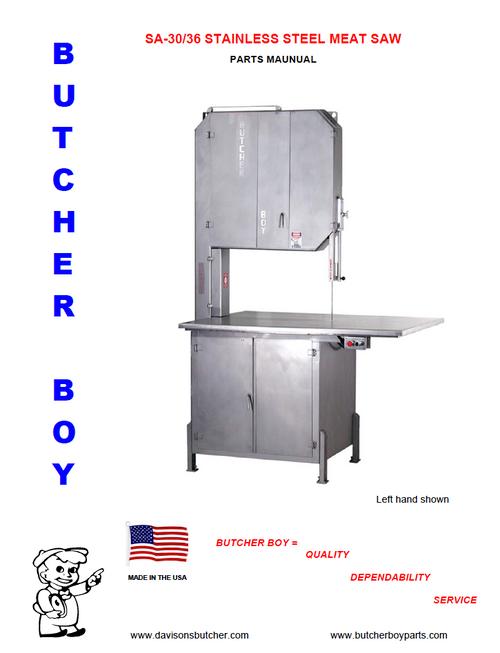 Butcher Boy SA30 & SA36 - Meat Bandsaw Parts List (New Style)