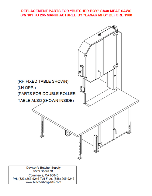 Butcher Boy SA36 - Meat Bandsaw Parts List (Old Style)