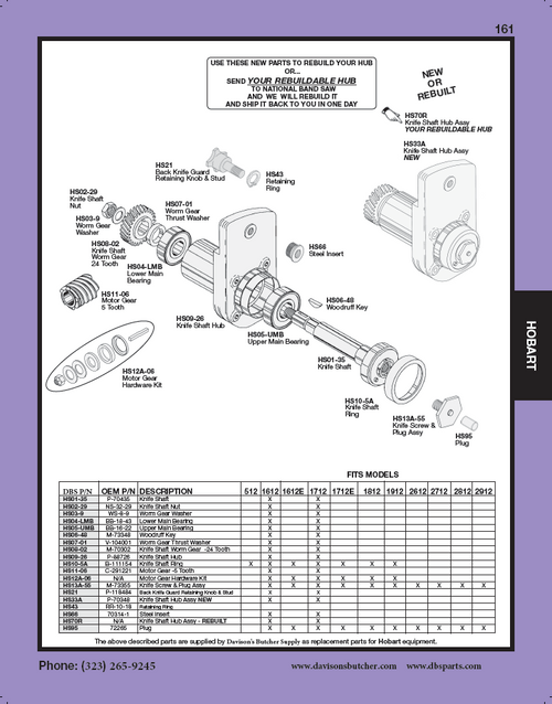 "Hobart ""All Models"" - Meat & Deli Slicer Parts List"