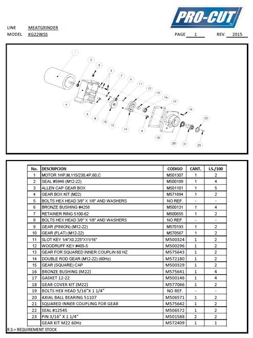 Pro Cut KG-22W-SS & KG-22W-XP-SS Meat Grinder Parts List