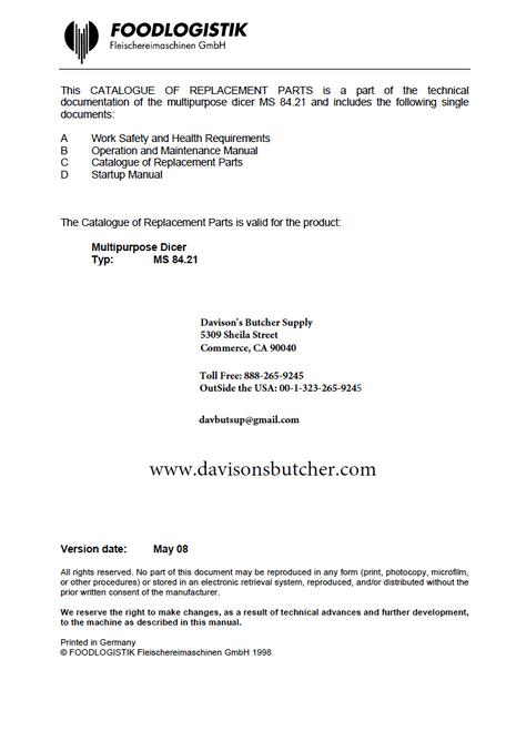 Foodlogistiks MS84.21  Parts - Parts Catalog