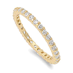 Gold Plated Sterling Silver Eternity Stackable CZ Ring