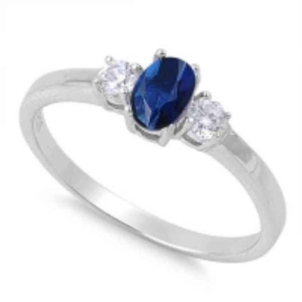 Sterling Silver Oval Cut Blue Spinel CZ Ring