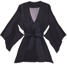 SILK WITH LEAVERS LACE YUKATA ROBE BLACK