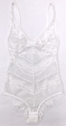 FILIGREE CHEVRON BODYSUIT WHITE DIAMOND