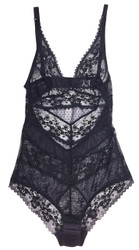 FILIGREE CHEVRON BODYSUIT BLACK DIAMOND