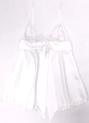 HONEYMOON DRAPED TIE BABYDOLL WHITE W/ WHITE LACE