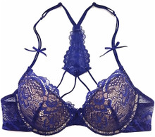 ALL LACE CLASSIC T-BACK BRA COBALT