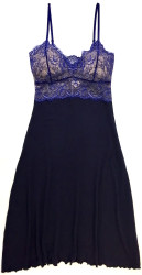 HOME APPAREL LACE CUP BALLERINA GOWN DEEP BLUE W/ COBALT LACE