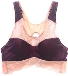 SILK WITH LEAVERS LACE COCO BRA TOP FIG