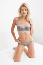 SILK WITH LEAVERS LACE COCO BRA TOP PEWTER