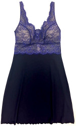 HOME APPAREL BUILT-UP CHEMISE DEEP BLUE W/ COBALT LACE