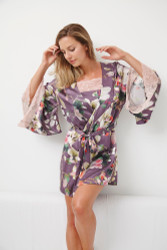 SILK WITH LEAVERS LACE PRINTED YUKATA ROBE WITH LACE TRIM EDEN