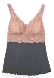 HOME APPAREL BUILT UP CAMI SLATE W/ JAVA LACE