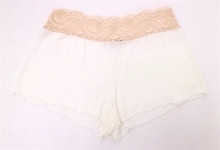 HOME APPAREL LACE WAIST SHORTIE IVORY W/ NUDE LACE