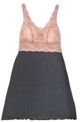HOME APPAREL BUILT-UP CHEMISE SLATE W/ JAVA LACE