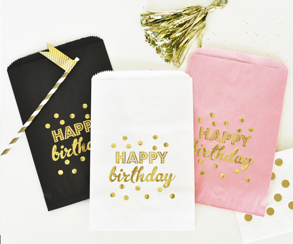 Birthday Favor Bags - Candy Buffet Bags - Pink and Gold Goodie Bags ...