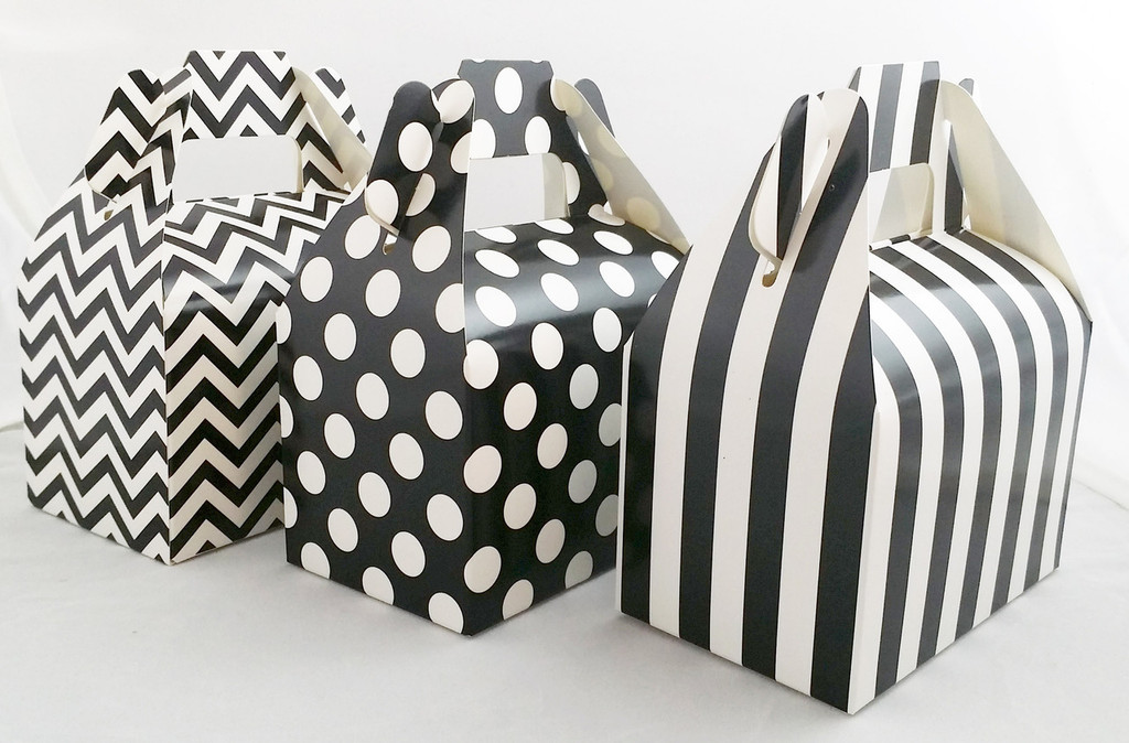 Mini Gable Box - Black Box - Chevron Favor Box - Stripe Box - Dot Gable Box (12ct)