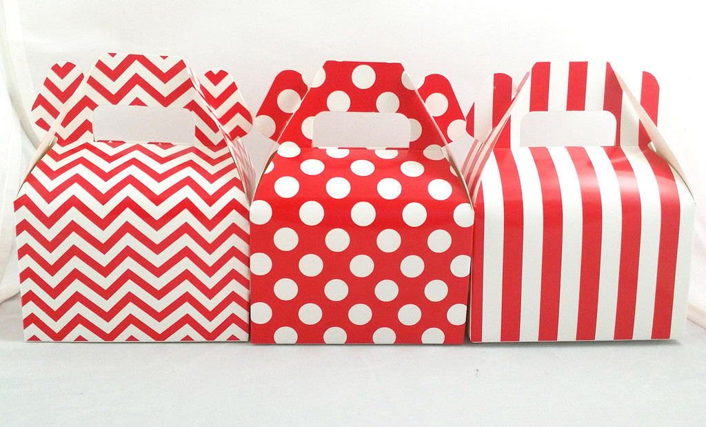 Mini Gable Box - Red Box - Chevron Favor Box - Stripe Box - Dot Gable Box (12ct)