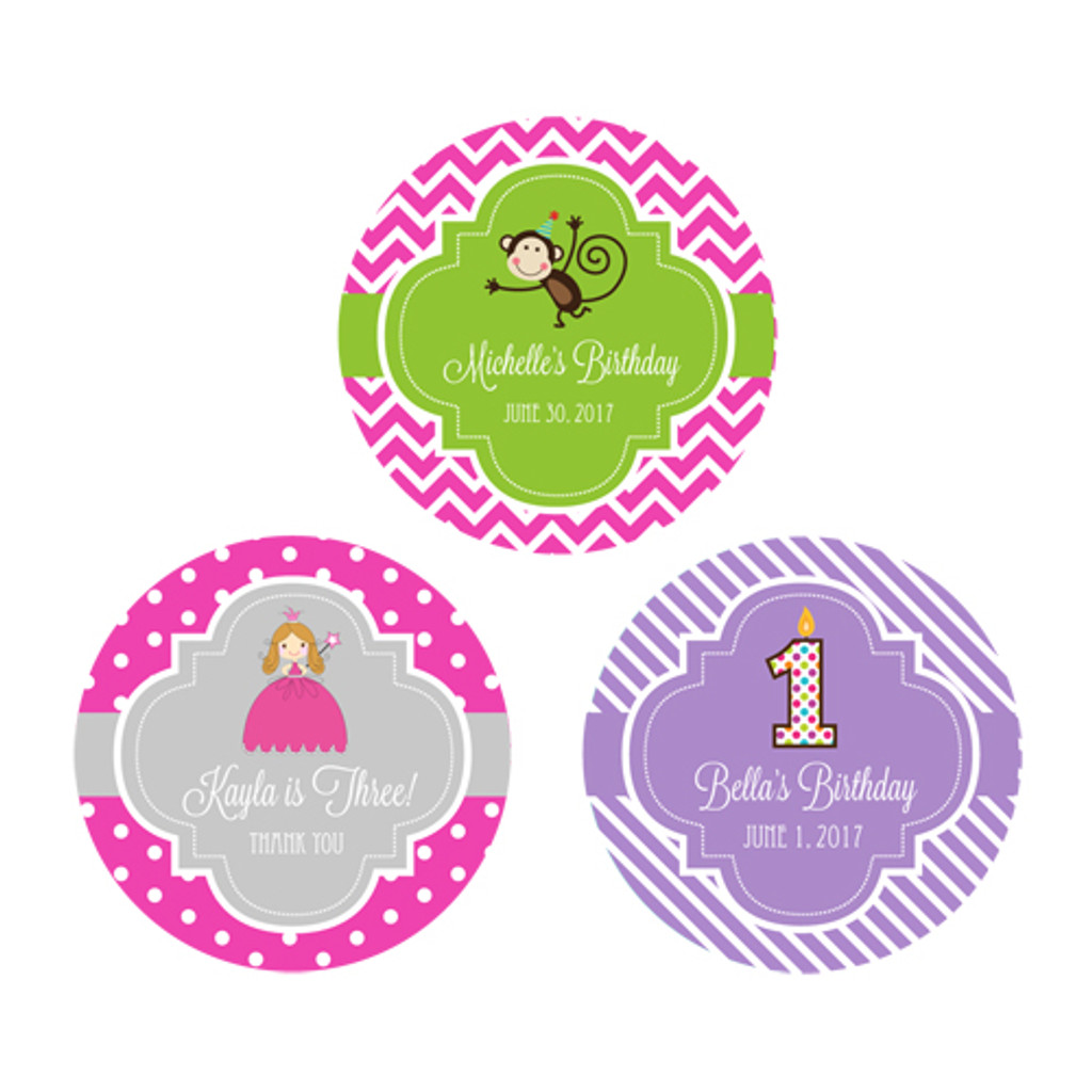 Birthday Personalized Stickers, Spa Party Favor, Cupcake Label, Nautical Birthday, Princess Stickers (48ct)