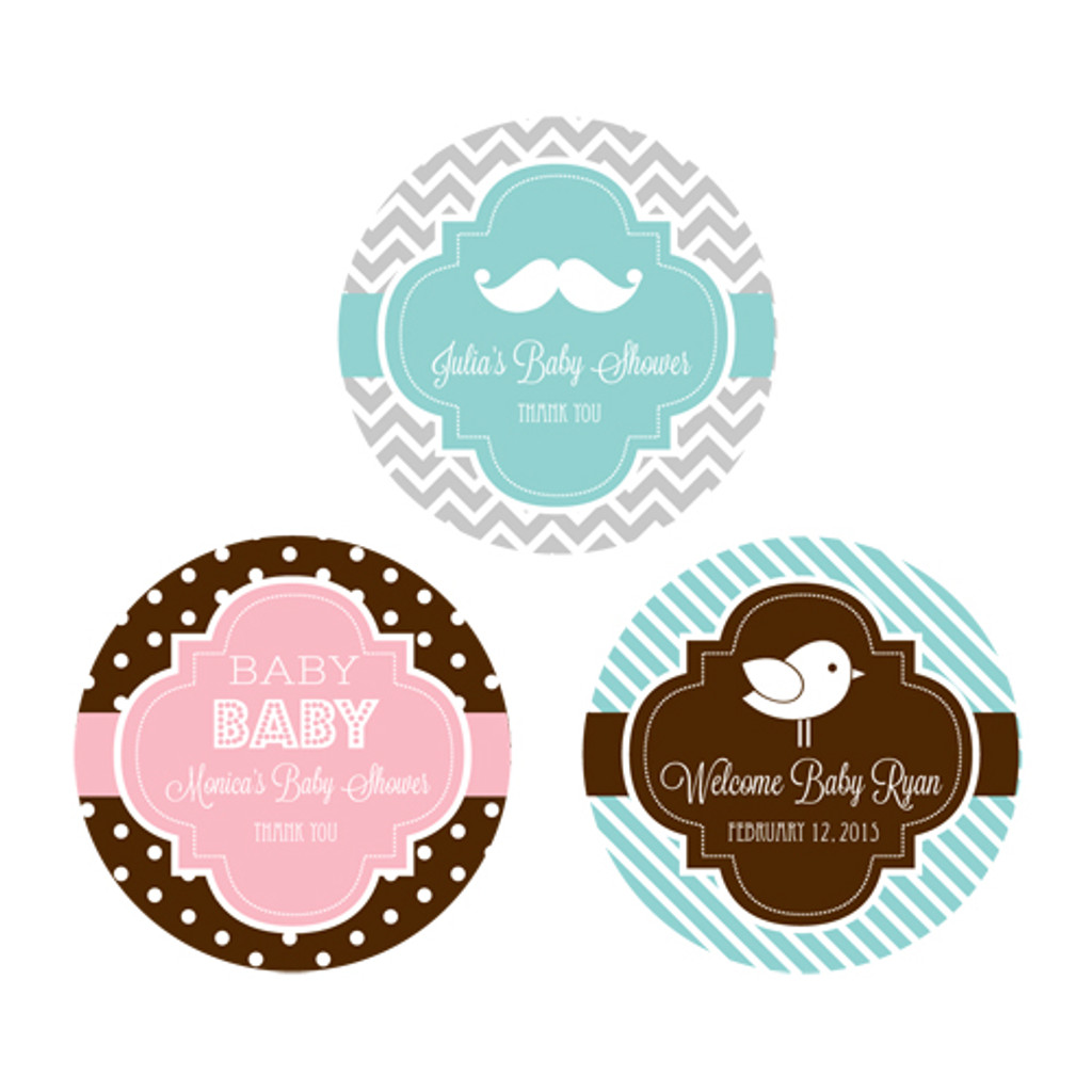 Baby Shower Personalized Favor Labels, Baby Shower Favor Stickers, Twins Baby Shower Labels (48ct)