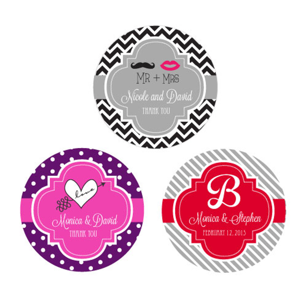 Wedding Personalized Favor Labels, Bridal Shower Favor Labels, Bachelorette Sticker, 50 Anniversary Stickers (48ct)
