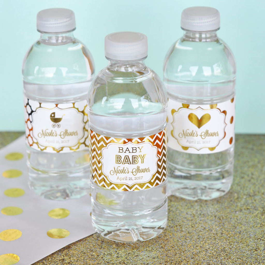Personalized Water Bottle Labels, Metallic Gold Foil Water Bottle Labels, Baby Shower Water Labels (24ct)