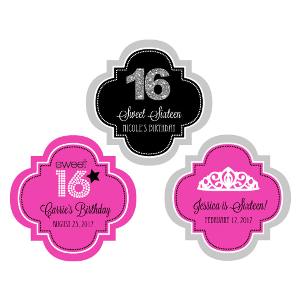 Personalized sweet 16 labels quinceanera stickers sweet 15 favor labels birthday sticker 48ct