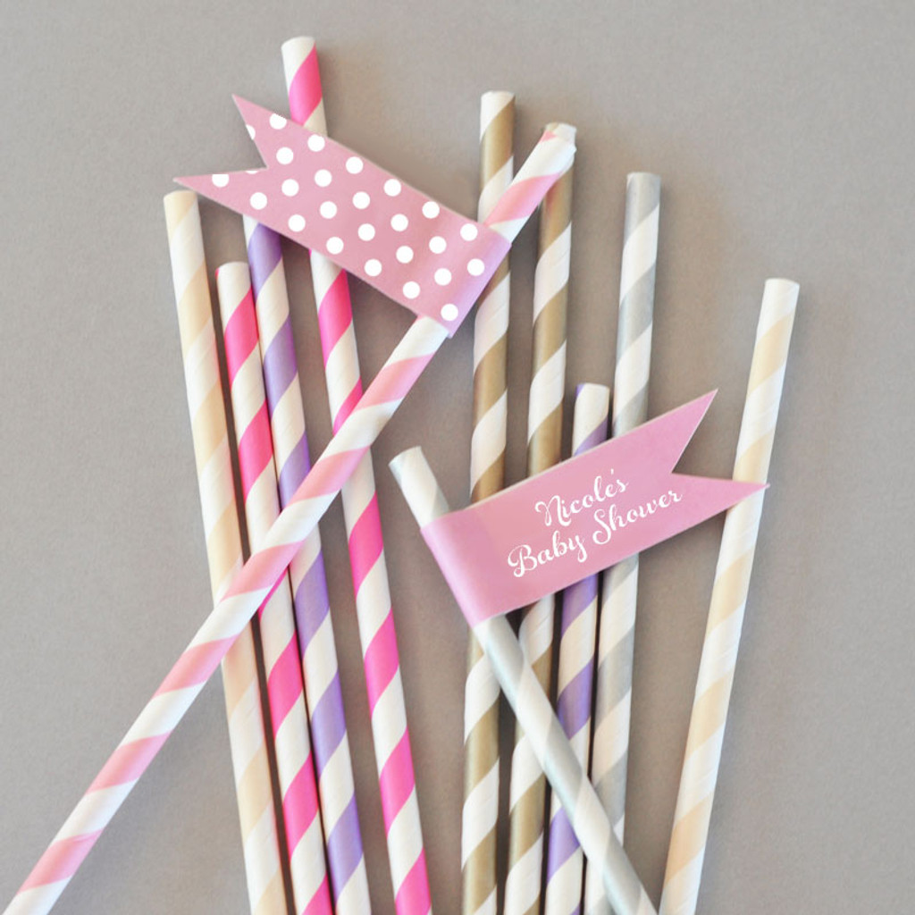 Personalized Flag Labels - Baby Shower Straw Flags (40ct)