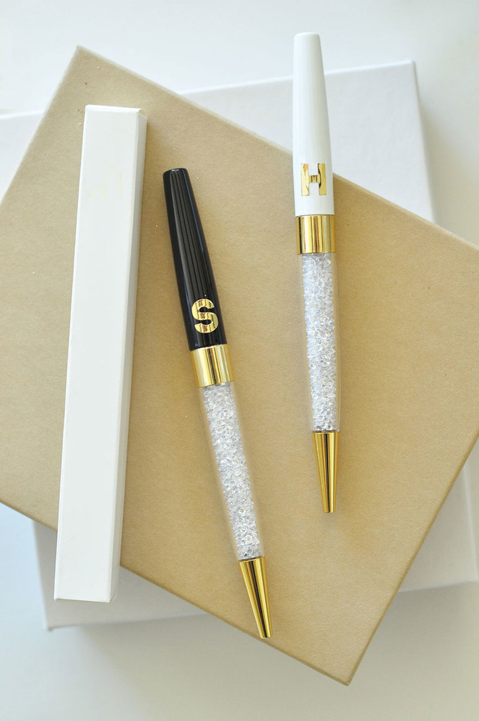 Monogram Pens - Crystal Pens - Glossy Pen Gifts - Maid Of Honor Gifts 3ct