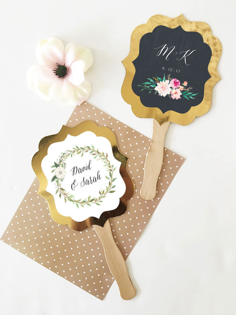 Personalized Floral Garden Gold Paddle Fans - Gold Hand Fans