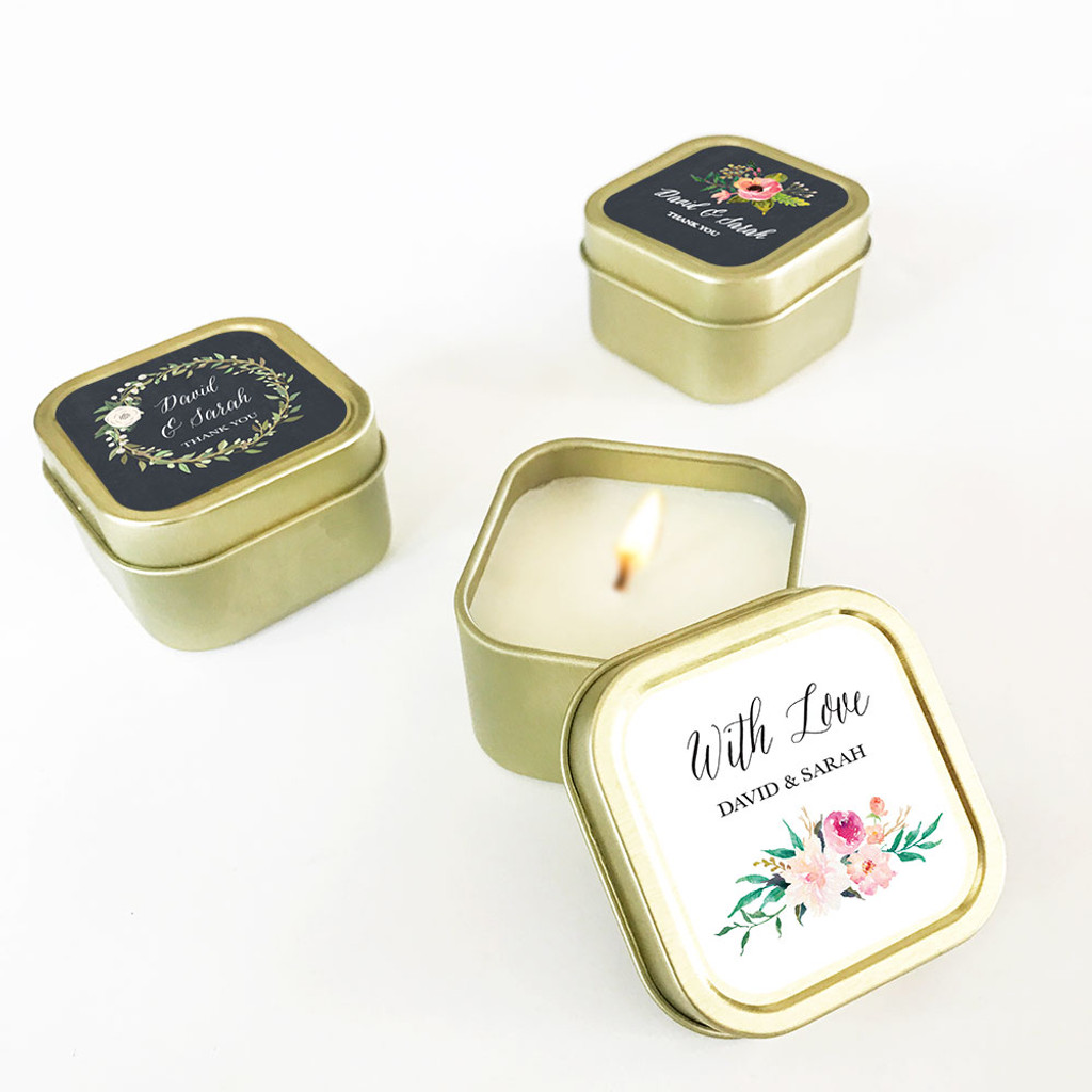 Gold Candle Tins - Floral Garden Cand Favors