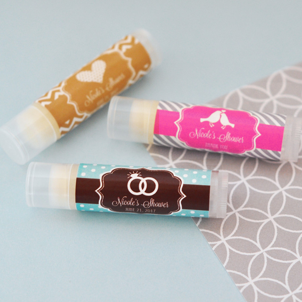 Personalized Wedding Chapstick Favors - Lip Balm Favor for Bridal Shower 24ct