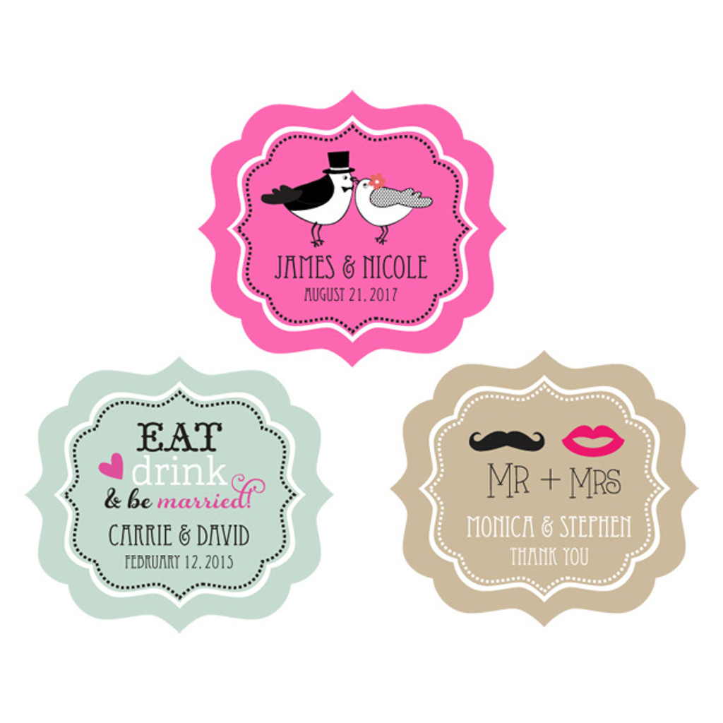 Wedding Bracket Favor Label Sticker, Wedding, Bridal Shower, Bachelorette & Anniversary 24ct