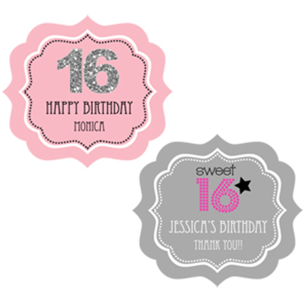 Sweet 16 Favor Label, Quinceanera Favor Label, Quince Stickers 24ct