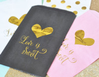Love is Sweet - Gold Foil Candy Buffet Bags - Foil Candy Bags - Favor Bags 24ct