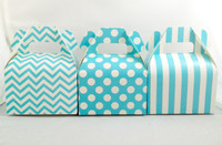 Mini Gable Box - Blue Box - Chevron Favor Box - Stripe Box - Dot Gable Box (12ct)