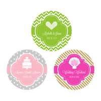 Wedding Personalized Favor Labels, Bridal Shower Labels, Bachelorette Tags, 50 Anniversary Stickers (48ct)