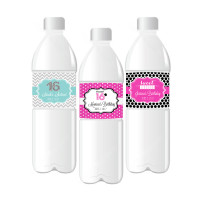 Sweet Sixteen Personalized Water Bottle Labels - Quinceanera Water Bottle Label (24ct)