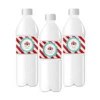 Birthday Personalized Water Bottle Labels - Carnival Birthday - Circus Bottle Label 25ct