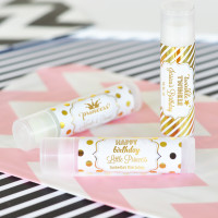 Personalized Birthday Favors, Metallic Foil Lip Balm Tubes, 30th Birthday, 40th Birthday Favors 45ct