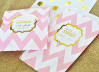 Baby Shower Favors Bags ~ Baby shower favor bags candy buffet bags pink and gold goodie