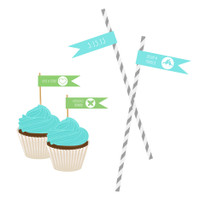 Personalized Flag Labels - Wedding Straw Flags - Mod Theme (40ct)