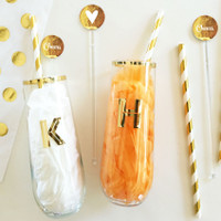 Gold Wine Glass 6ct - Brides Maid & Maid of Honor Gifts - Stemless Monogram Glasses 6ct