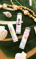 Tropical Chapstick Favors 24ct, Personalized Beach Chapsticks, Hawaii Party Theme Favors, Sea Party Favor, Lip Balm Favor