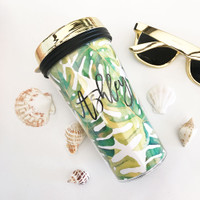 Tropical Beach Travel Tumblers - Gold Lid