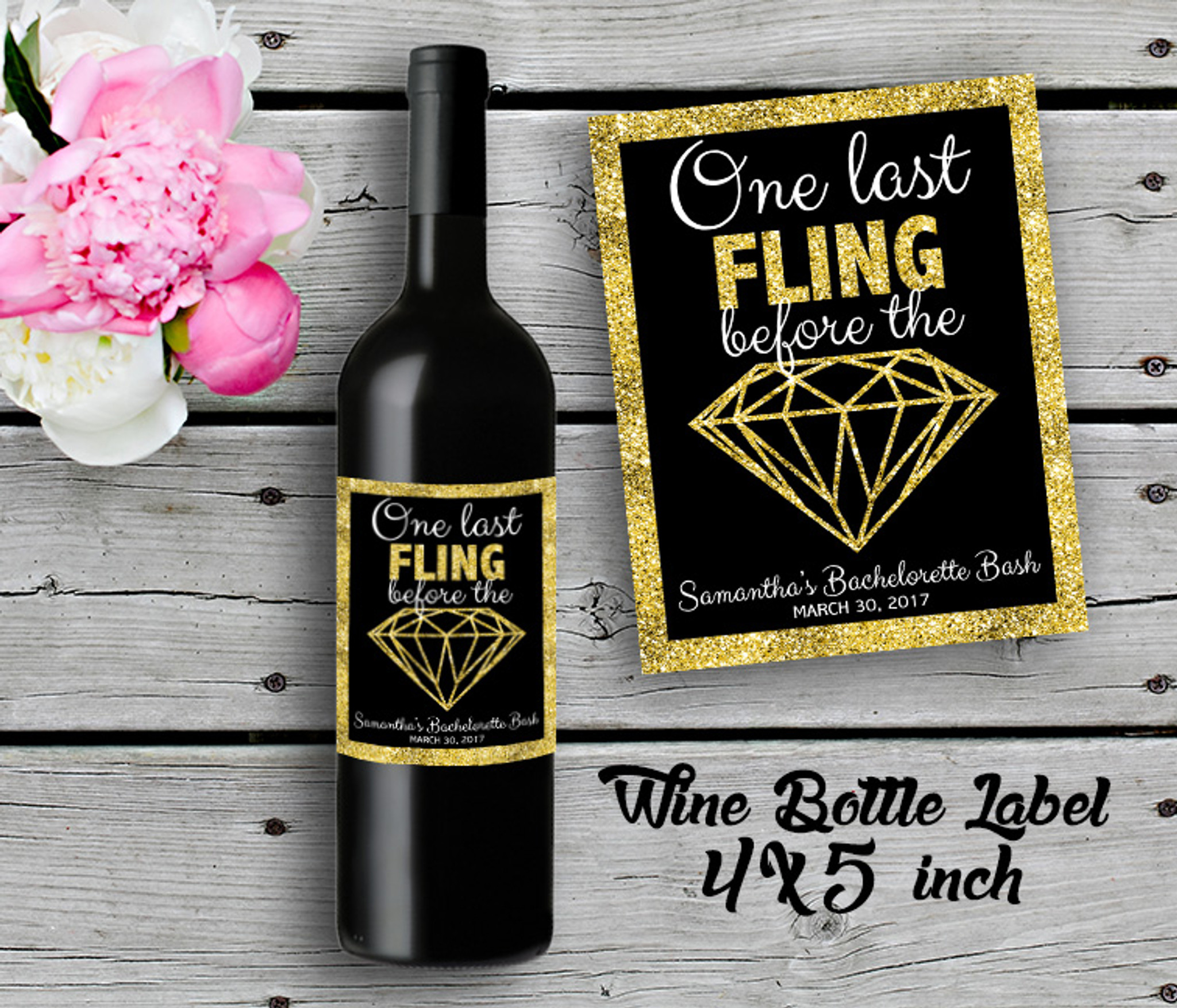New Personalized Bridal Shower Wine Bottle Labels